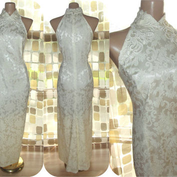 Vintage 80s McClintock Ivory Brocade Satin Column Dress Cocktail Gown Choker Neckline 14/16 1X Plus Size XL
