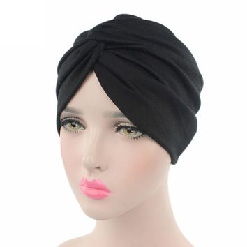 Women Cancer Chemo Hat Beanie Scarf Turban Head Wrap Cap gorras hombre female flower bow knot Skullies & Beanies