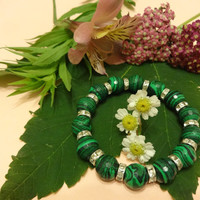 Bracelet with Faceted Malachite Beads 12 mm, Silver tone Rondelles, Gift for her, Gemstone, Jewelry, Women Jewelry, Elastic Cord, Handmade
