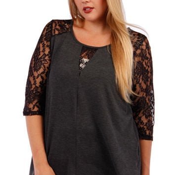 Plus Size Lace and Solid Top 456