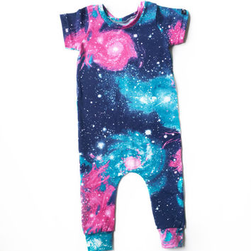 Baby Girl Pink and Teal Romper, Girl Galaxy Harem Romper, Toddler Gift, Toddler Girl Romper, Trendy Baby Clothes, Hipster Kid Clothes