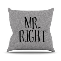 "KESS Original ""Mr. Right"" Couples Outdoor Throw Pillow"