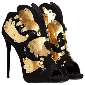 Giuseppe Zanotti NEW & SOLD OUT Evening Black Suede Gold Crystal Shoes Heels