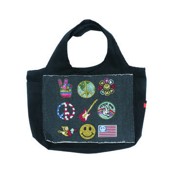 "Butter GIRLS ""AMERICAN GIRL"" CANVAS TOTE BAG - Black/Grey"