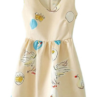 ROMWE Crowns and Swans Print V-neck Slim Sleeveless Cream Dress