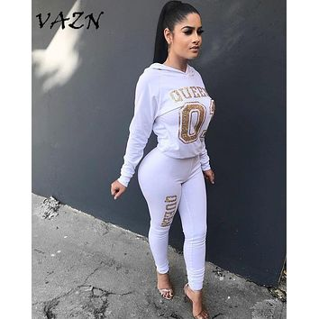 VAZN 2018 New Fashion Style Ladies Casual 2 Pieces Jumpsuits Hooded Full Sleeve Bodycon Women Jumpsuits Costume S3255