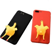 Funny 3D Squishy Chicken Lay Egg Squishy Animal Phone Case Cover
