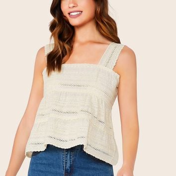 Embroidered Eyelet Lace Tank Top