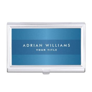 Stylish blue gradient classy personalized business card holder