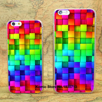 blocks rainbow 3d graphics background Design hard transparent clear Skin Cover Case for iPhone 6 6s 6 Plus -0402