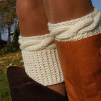 Hand knit Boot Cuffs, Knitted Boot Cuffs, Wool Boot Cuffs,Womens Boot Cuffs, Knitted Leg warmers, Womens Boots Socks