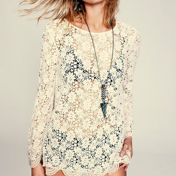 Lace Back-Button Long Sleeve Top