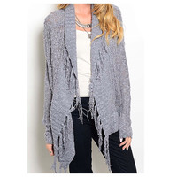 """Must Have"" L/S Knit Fringe Grey Cardigan"