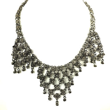 Silver Italian Cannetille Necklace
