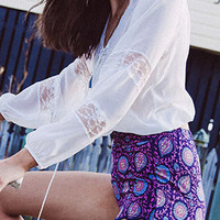 White Tie Front Lace Long Sleeve Blouse and Purple Folk Print Shorts Set