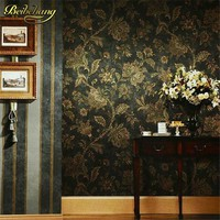 beibehang Rustic vintage wall paper embossed PVC wallpaper roll TV background wall paper black floral wallpaper for living room