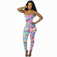 Women Jumpsuit Rompers stretchy tropical floral print bodycon straps backless Overalls for women
