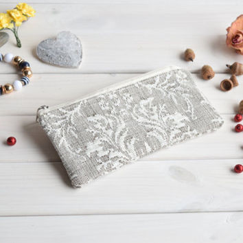 Damask pencil case, Pencil Pouch, Cosmetic pouch, Make Up Pouch, Charger bag, Project bag, Travel bag, Bridesmaid gift, Bridal purse