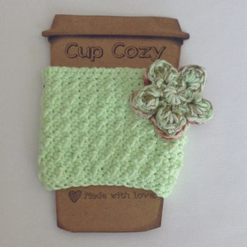 Crochet cup cozy, handmade cup sleeve, crochet travel sleeve, green cup cozy