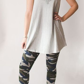 Strappy Lacy Tunic - Misty Gray