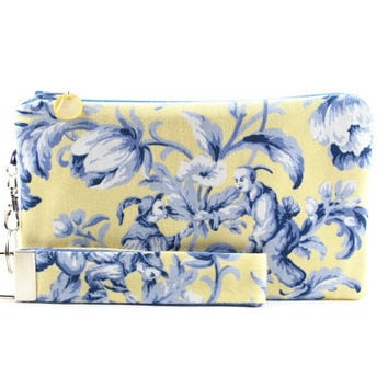 Asian wristlet / yellow clutch / small purse / zipper pouch & detachable key fob gift set for women in yellow and blue asian toile fabric