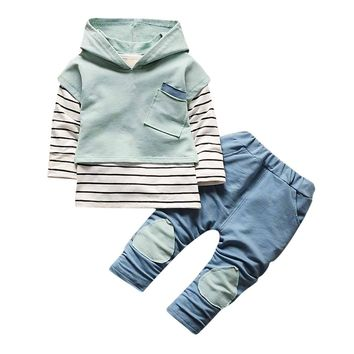 3 Pcs Sets Fashion Boys/Girl Denim Patchwork