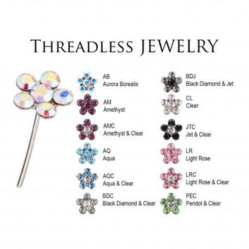 Get Your Ears Pierced w These! Quality Crystal Flowers (Helix, Tragus, Lobe)
