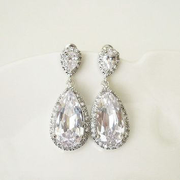 Crystal Drop Earrings Bridal Jewelry in Old Hollywood style