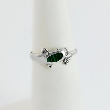 Sterling Malachite Dolphin Ring - Silver Dolphin Ring Size 4.5 - Malachite Dolphin Ring - Green Inlay Dolphin Ring
