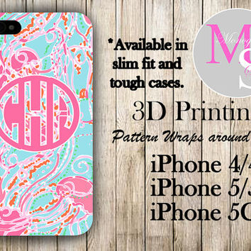 Monogram iPhone Case Personalized Phone Case Lilly Pulitzer Inspired Monogrammed iPhone Case, Iphone 4S, Iphone 4 iPhone 5S, iPhone 5C #2292