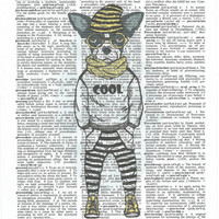 Mr.Cool  Dictionary Art Print on Upcycle Vintage Page Book Print Art Print Dictionary Print Collage Print