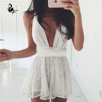 2016 New Womens' Lace Jumpsuit Deep V-neck Playsuit  Sexy White Romper bandage beach women  Loose Overalls