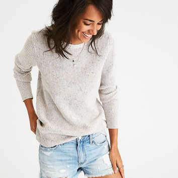 AEO Ribbed Open-Back Sweater, Multi