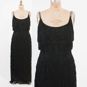 Vintage 60s FRINGE DRESS / 1960s Bombshell Black Rhinestone Strap Wiggle Evening Gown Covered In Fringe M