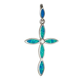 Sterling Silver Synthetic Blue Opal Cross Pendant with Cubic Zirconia Accent