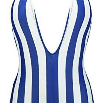 COCOSHIP Womens One Piece Plunging V Neck Backless Bather Swimsuit Low Scoop Back High Waist SwimwearFBA