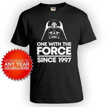 Funny Birthday Shirt 21st Birthday Gifts For Him Bday T Shirt B Day Present Custom One With The Force Since 1997 Birthday Mens Tee - BG558