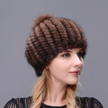 Hot Selling Women's Winter Cap Ear Warm Berets Real Natural Mink Fur Hand-knitted Hat With Big Fox Pompom On The Top Beret