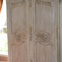 1920's Vintage French Provincial Louis XV Style Shabby Chic Old White Carved Armoire or Entertainment Center with Bonnet Top