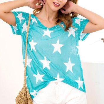 Summer Fashion Women Cool Five-Pointed Star Print Short Sleeve Round Collar See-Through T-Shirt Top Sky Blue