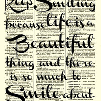 Keep Smiling Life is Beautiful Marilyn by reimaginationprints