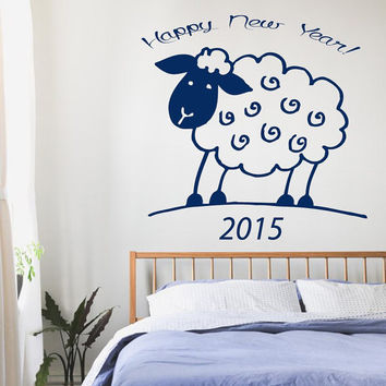 Wall Decals Vinyl Sticker Words Interior Room Design Nursery Room Decor 2015 Sheep Merry Christmas and Happy New Year Christmas Decor KT46