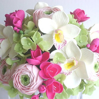 HandmadeClay Wedding Bouquet. Hot Pink Fresia, Cymbidium Orchid, Ranunculus and Hydrangea Bridal Bouquet