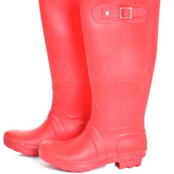 Sunshine After The Rain Boots- Red