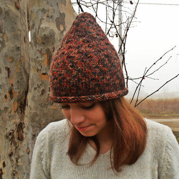FREE SHIPPING - Women Hat, Knit Hat, Winter Hat, Gnome Hat, Brown Warm Hat, Funny Hat, Wool Hat, Handknit Hat