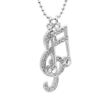 Crystal Music Note Clef and Ottava Necklace