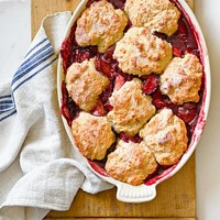 Plum-Raspberry Cobbler