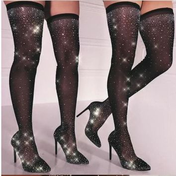 Black Rhinestone Pointed Toe Over Knee Sock Boots
