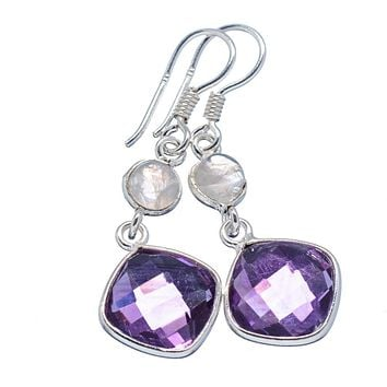 Moonstone & Amethyst Sterling Silver Earrings