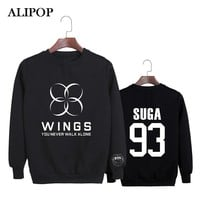 ALIPOP Kpop Korean BTS Bangtan Boys JHope V WINGS Album YOU NEVER WALK ALONE Cotton Hoodies Clothes Pullovers Sweatshirts PT352
